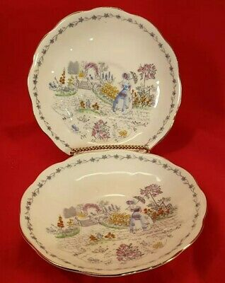 Vintage Two Tea Saucers  Fine Bone Bell China Made In England