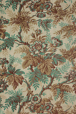Antique French fabric Belle Epoque printed cotton TEAL + neutral tones c1880