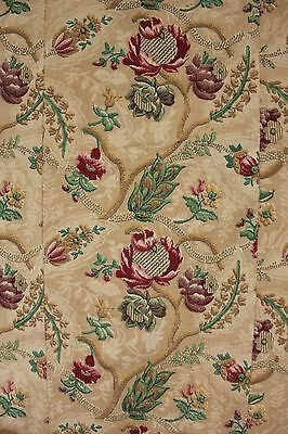 Antique French Fabric Arts & Crafts floral vine 1880 material printed design