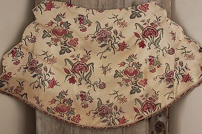 French Fabric 1880 printed Indienne cotton ciel de lit bed hanging w/ trim