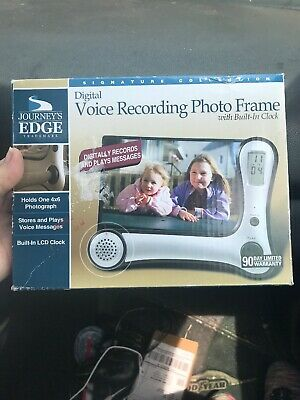 Journeys Edge Photo Frame With Digital Voice Recorder And Built In Clock New