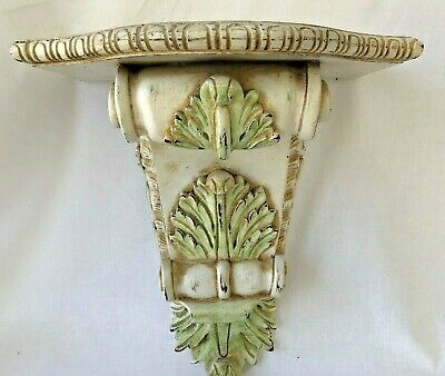 Distressed White Pastel Wall Shelf Acanthus Leaf Corbel Sconce Cottage Decor