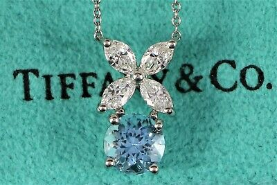 608296768 $7,200 Tiffany Co Victoria Platinum Marquise Diamond Aquamarine Pendant  Necklace
