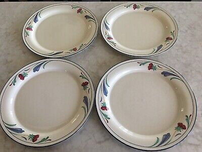 "Lenox Chinastone Dinner Plates, Set of 4, Pattern is ""Poppies on Blue"" + Bonus"