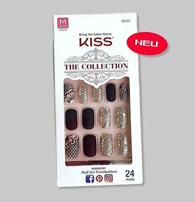 Kiss THE COLLECTION NAILS Design SSC03 schwarz matt gold Künstliche Fingernägel