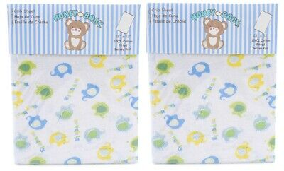 Honey Baby Elephant Blue Toddler Bed or Crib Sheets 2-Pack (100% Cotton)