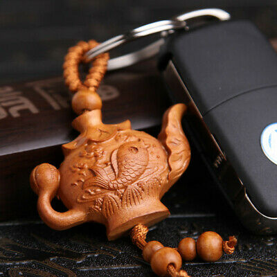 Tea Pot Carp Wood 3D Carving Chinese Fengshui Pendant Key Chain Keyring Craft QU