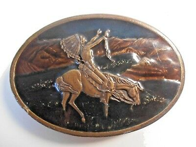 MENS BRASS BELT BUCKLE 1977 Western Native American Indian Chief Cowboy Horse