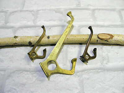 Antique Vintage Solid Brass DOUBLE Hat Coat Hooks- LOT OF 3 Wall Door Key Hooks