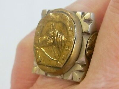 Vintage 1950'S Mexican Biker Souvenir Mens Ring W Horseshoe Gladiator Soldier