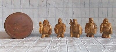 Lot Of 3 Miniature Wood Asian Hand Carved Figures & Round Box (B11)