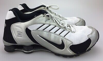 new style d5cd9 353ed Mens NIKE SHOX 332082-101 Black Silver White Running Shoes SIZE 11 EU 45