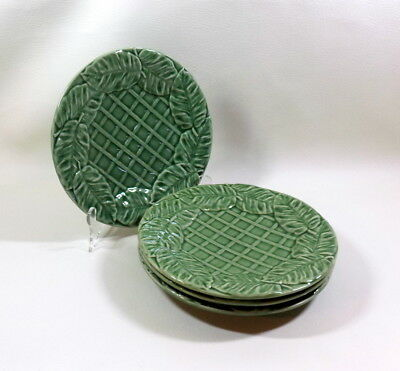 "Lot of 4 Plates 8.25"" - BORDALLO PINHEIRO Portugal Green Large Leaves Lattice #1"