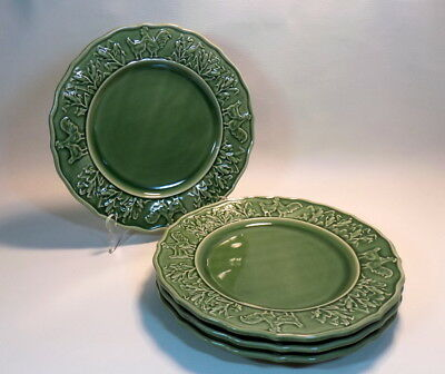 "Lot of 4 Plates 10.5"" - BORDALLO PINHEIRO Portugal Green Rooster Chicken Corn #1"