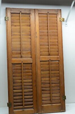 Vintage Pair 1800's Old  Wooden Window Shutters Chicago Architectural Salvage