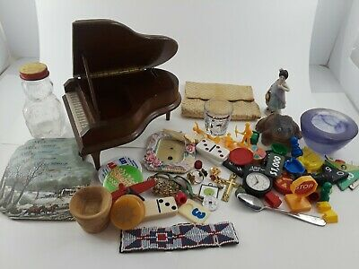 Junk Drawer Lot - Vintage Collectibles Jewelry,Pinbacks,Purse,Music Box,Japan