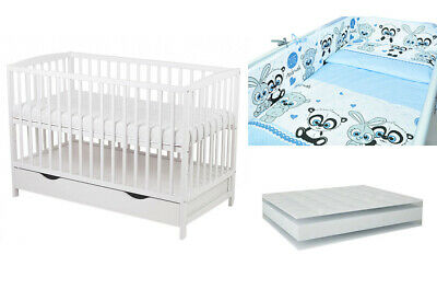 10 part set :baby cot with drawer color white + mattress + bedding set