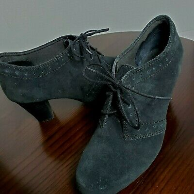 af72505ad3def Clarks Bendables Black Suede Leather Oxford Heeled Shoes Womens Size 7.5 W  Wide