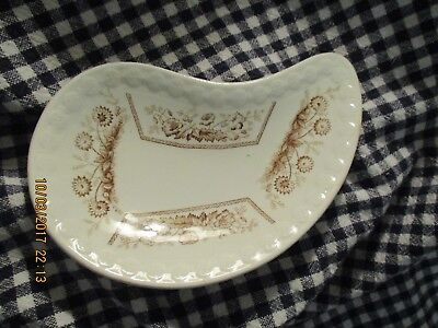 Antique-Brown Transfer Ware- Aesthetic Movement- 1870-ish-Kidney Shaped Bone / S