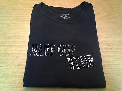 80060128673 Women's New Additions Maternity Size M 8 10 Black Sparkly Baby Got Bump T  Shirt!