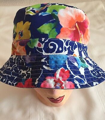 NWT POLO RALPH LAUREN Men's Reversible Floral Holiday Navy Bucket Hat Size S/M