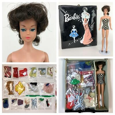 Vtg BARBIE 1963-65 Fashion Queen HTF Doll Lot Outfits Clothing Wig w/ Orig Case