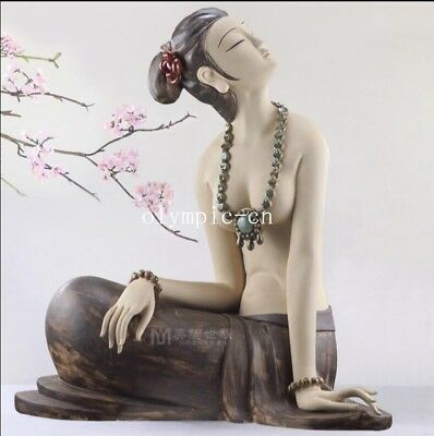 21'' chinese ceramic porcelain Sculpture beautiful women lady girl statue