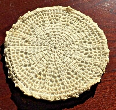 CROCHETED TRIVET Vintage Ivory Cream Crocheted Hot Pad Trivet bx42