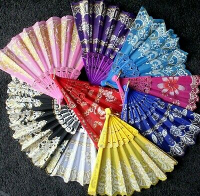Rose Butterfly Floral Printed Hand Held Folding Fan Asian Chinese Japanese Voile