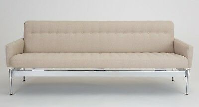 Mid Century Modern Chrome Sofa Cream Boucle Tufted Upholstery Laverne Style