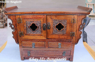 """17"""" China Natural Huanghuali Wood Drawer Table Desk Cupboard Cabinet Statue"""