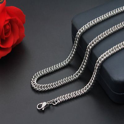 Man Women 316L Stainless Steel 2mm/3mm/4mm/5mm Silver Curb Link Chain Necklace