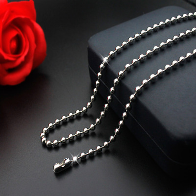 Man Women 316L Stainless Steel 2mm/3mm/4mm/5mm Silver Ball Bead Chain Necklace