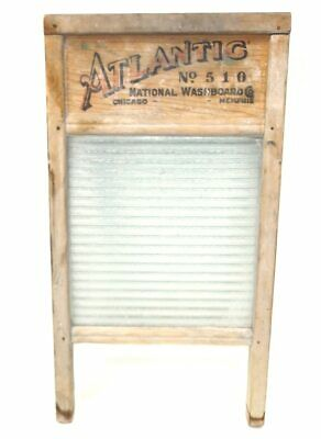Primitive Antique Atlantic No. 510 Glass Wash Board - National Washboard Co.