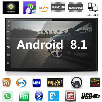 "7"" Android 8.1 Car Stereo GPS Navigation Radio Player Double Din WIFI Bluetooth"
