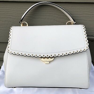 4675b347d50607 NEW Michael Kors AVA Medium Scalloped Leather Satchel Bag WHITE GOLD $298+