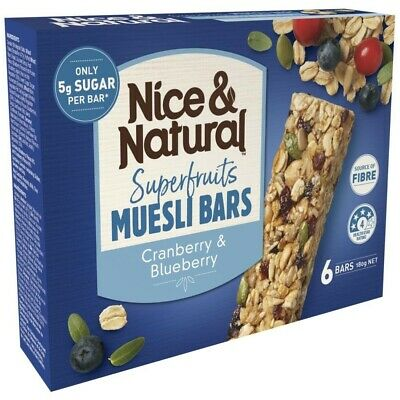 Nice & Natural Cranberry & Blueberry Flavour Superfruits Muesli Bars 6 pack 180g