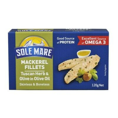 Sole Mare Mackerel Fillets Tuscan Herb & Olive In Olive Oil Skinless and Bone...