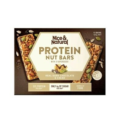 Nice & Natural Real Dark Chocolate & Cacao Protein Nut Bars 5 Pack 165g