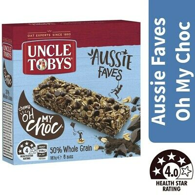 Uncle Tobys Aussie Faves Oh My Choc 50% Whole Grain Bars 6 Pack 185g