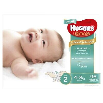 Huggies Unisex Ultimate Infant Nappy 4-8 Kg Size 2 96 Pack