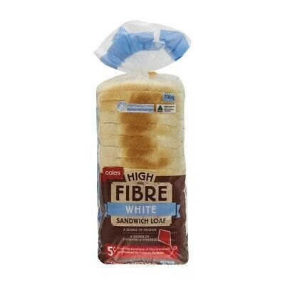 Coles High Fibre White Sandwich Loaf 700g