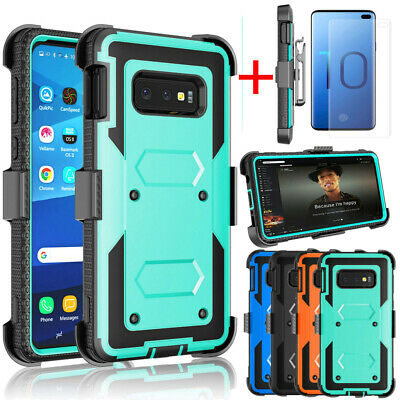 For Samsung Galaxy Note 9 S10 Plus S10E Shockproof 360° Armor Clip Holster Case