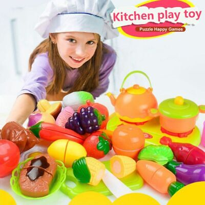 Plastic House Fruit Vegetable Simulation Food Kitchen Pretend Play Cutting Toy