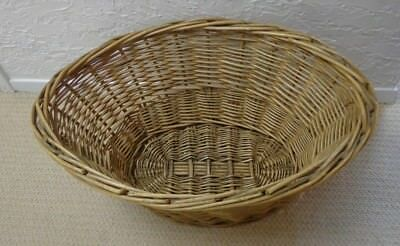 Vintage / Antique French Style Wicker Rattan Laundry Oval Basket--Very large EUC
