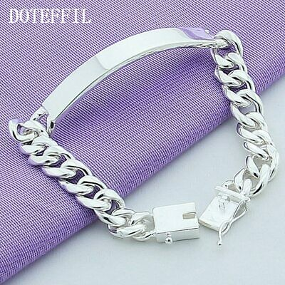 Mens Womens 925 Sterling Silver 8mm Fashion Charm Link Chain Bracelet Jewelry