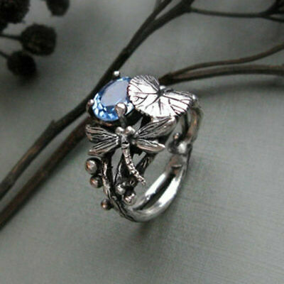 Women Fashion Blue Topaz Party 925 Ring Wedding Jewelry Dragonfly Gift Silver