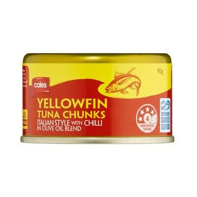 Coles Yellowfin Italian Style With Chilli In Olive Oil Blend Tuna Chunks 95g