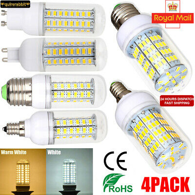 4 X E27/E14/B22/G9/G10 7 9 12 15W 20W LED Corn Light Bulb SMD 5730 Spotlight UK