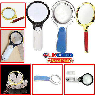 45X 15X 5X Handheld Magnifying Glass Magnifier Jewelry Loupe with LED Light Lens